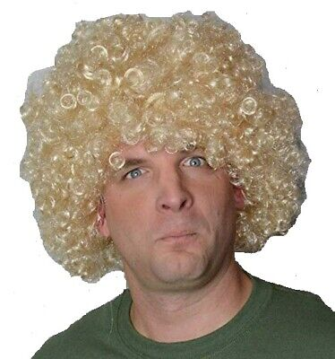 Afro Style Curly Blonde Men's Wavy Fancy Dress Wig. Uk Disp