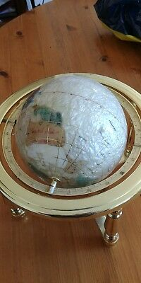 Mother Of Pearl Semi-Precious Gemstone World Globe With Compass