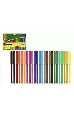 24 Pack Felt Tip Pens Drawing Markers Watercolour Art School Colouring