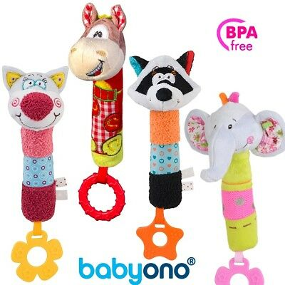 Cute Toy Rattle Squeaky Soft Colour Light kid Baby Infant Babyono new