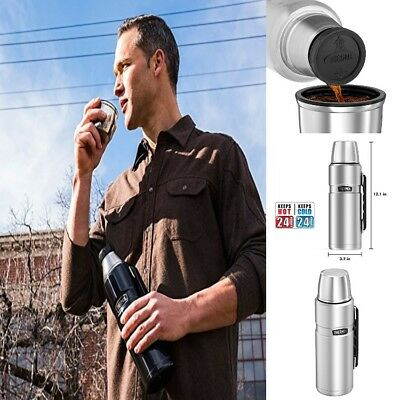 Thermos Stainless King 40 Ounce Beverage Bottle Double Wall Vacuum Insulation