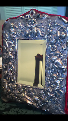 estate heavy solid cast 3D repousse sterling silver bevelled mirror-557 grams!!