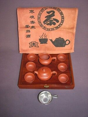 Chinese Yixing Zisha Clay Stoneware Gongfu Kungfu 5 Serving Tea Set with Box