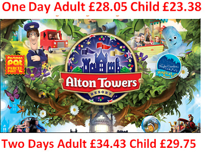 Alton Towers 53% off Discount  One Day Ticket £28.05 or £34.43 for 2 Days