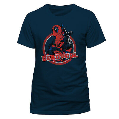 Official Marvel Comics - Deadpool Logo Round 'Hey You' Navy Blue T-Shirt (New)