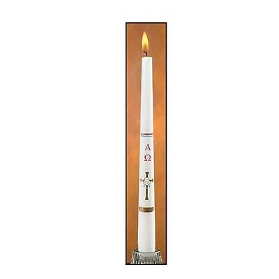 Cross/Shell Baptismal Candle (EC438) NEW With Baptism certificate