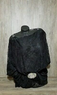 Fashion Junky Ladies Black Lace Chiffon Long Cover Me Batwing Top~Swrski Strap