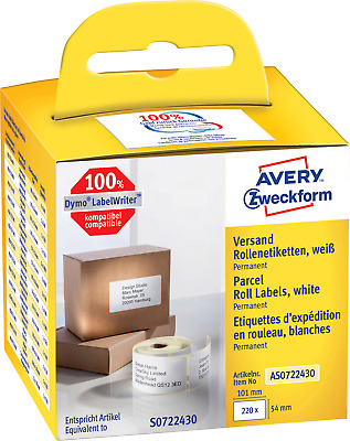 Avery-Zweckform AS0722430 Etiketten Rolle 101 x 54mm Papier Weiß 220 St. Permane