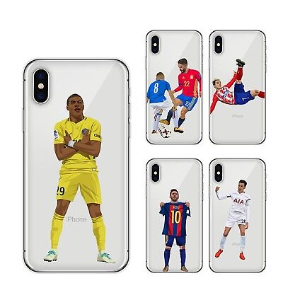 the latest 351f5 e4414 FOOTBALLER CLEAR SOFT Case Cover for iPhone X 8 7 6 Plus iPhone 5s Messi  Ronaldo