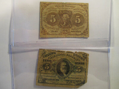 2 pc fractional currency US 5 cent AS SHOWN *2624