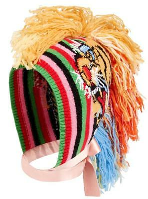 New Gucci Current Runway Rainbow Tiger Knit Tassel Mohawk Hat Medium