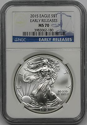 2015 Early Releases Silver Eagle $1 MS 70 NGC 1 oz Fine Silver