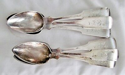 Set/6 ATQ Wm Smith Colonial American 900 Silver Coin FiddleBack Tea Spoon 96grms