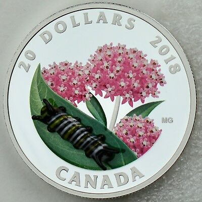 2018 $20 Murano Glass Monarch Caterpillar 1 oz .9999 Pure Silver Color Proof