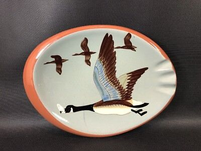 Vintage Stangl Art Pottery Handpainted Canada Goose Ashtray - 1950's Imperfec 4L