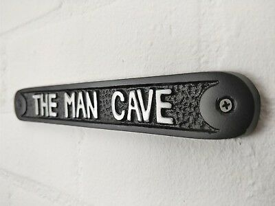 Large The Man Cave Door Wall Sign Plaque Shed Garage Vintage Solid Cast Metal