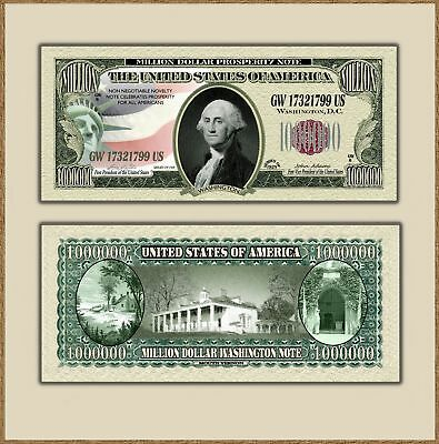 Original One Million Dollar Washington Novelty Bill Traditional