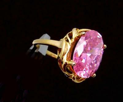 Vintage Sterling Silver Vermeil Pink Glass Cocktail Ring Shimmery Pretty 23698