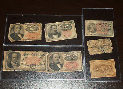 Collection of 7 Circulated United States Fractional Notes - 3, 5, 10, 25 and 50c