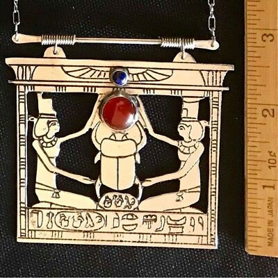 egyptian queen & scarab etched necklace sterling silver lapis carnelian vintage