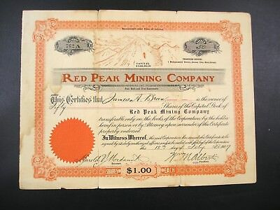 1907 Two Stock Certificates for the Red Peak Mining Company