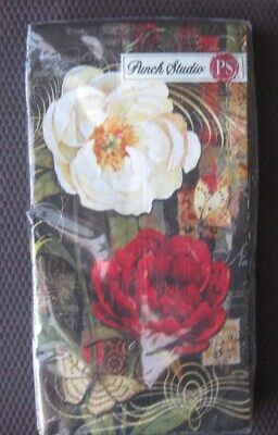 PUNCH STUDIO Paper Napkins Guest Towels Twilight Bloom Red White ...