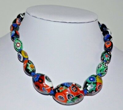 art deco jewellery Beautiful Antique Murano hand knotted milliefiori necklet