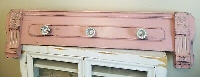 WoW~ Antique Painted HEADER Pediment  Architectural Wood CRYSTAL Knobs HANGER