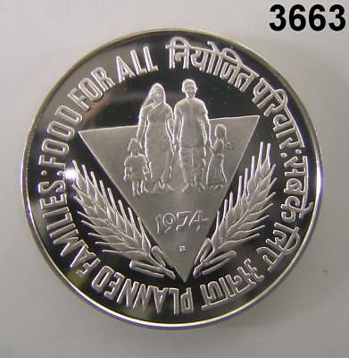 """1974 India 50 Rupees Silver Proof Cameo 1-3/4"""" Food For All! #3663"""