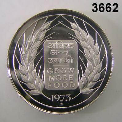 """1973 India 20 Rupees Grow More Food Silver Proof 1-5/8"""" #3662"""