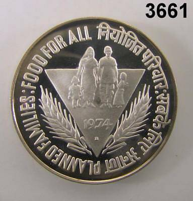 """1974 India 50 Rupees Silver Proof Cameo 1-3/4"""" Food For All! #3661"""
