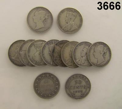Newfoundland Sterling Silver 12 Coin Lot Of Halves! #3666