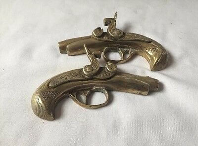 Set Of 2 Vintage Small Solid Brass Wall Pistols