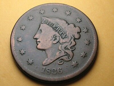 1836 Large Cent * Coronet Head * Free Shipping