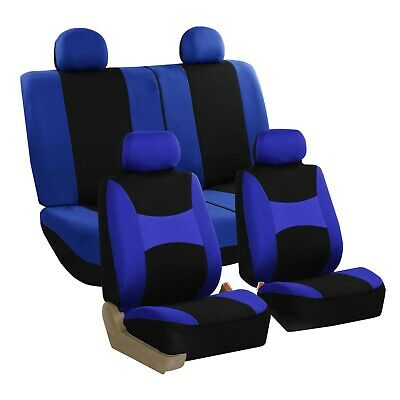 Car Seat Covers for Auto Sedan SUV Truck Van Full Set 4 Headrests Blue