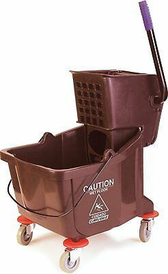 Carlisle 3690469 Commercial Mop Bucket With Side Press Wringer, 35 Quart Brown