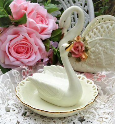 Vintage AVON *Cream 'SWAN' Ring/Trinket/Jewellery Holder* For Dressing Table