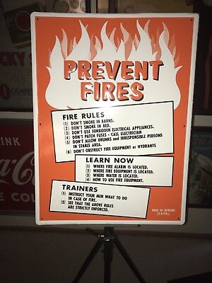 """Authentic Embossed Metal ,thoroughbred Racing Stable """"prevent Fires"""" Sign Nos"""