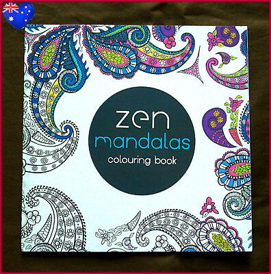 ZEN MANDALAS - Mini ADULT COLOURING ART THERAPY - Relax Colour in 24pg NEW BOOK