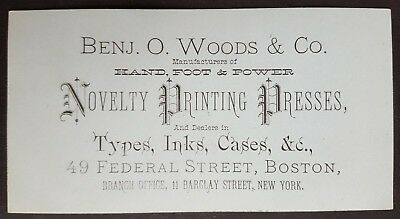 Business Card - Benj. O. Woods & Co. Novelty Printing Presses, Inks - Boston, MA