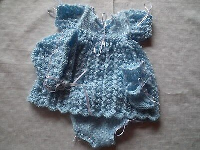 Dolls Clothes Hand Knitted Dress Pants Bonnet & Booties to fit 18-20 Inch Doll