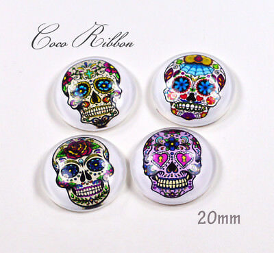 20mm 12pc Mixed Round Day of the Dead Sugar Skull Glass Cameo Cabochon A22