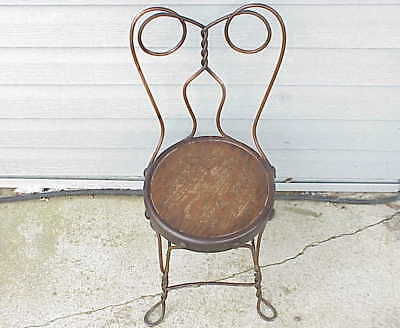 Antique Childs Ice Cream Parlor Twisted Iron Chair w Bronze Like Plating