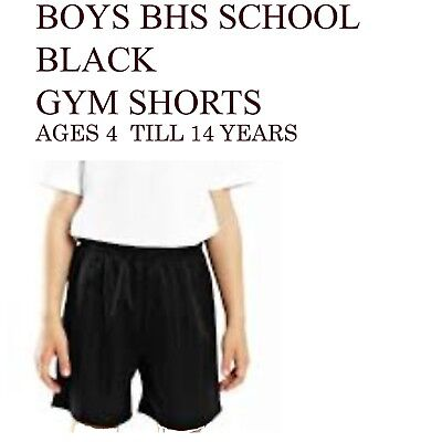 Boys School PE Football Black Shorts BHS Ages 4 Till 14 Years
