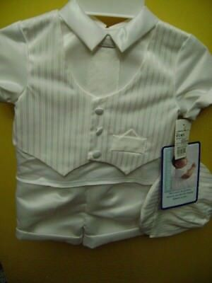 NWT-Infant Boy 3 Piece Christening Outfit,Size 9-12 mo,Made USA,Satin Looking