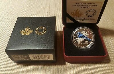 2015 Canada $10 Colorful Songbirds of Canada Blue Jay Silver Proof Coin