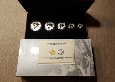 2016 Canada Reverse Proof Silver Maple Leaf 5 Coin Fractional Set-Historic Reign