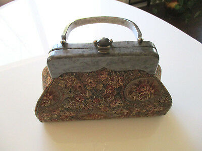 Vintage Rialto Tapestry Purse Silver Gray Lucite Trim & Handle Floral Handbag NY