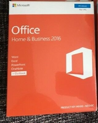 Microsoft Office Home and Business 2016 1 PC Windows Lifetime Retail Pack