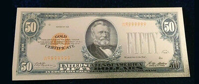 "☆MINT☆OLD STYLE ""GOLD""$50.00 GOLD CERTIFICATE Fifty DOLLAR Rep.*Bank☆note&+COA☆"
